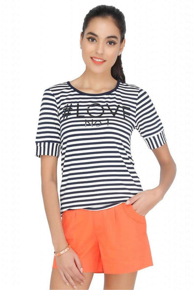 Cottonworld Women's Tshirts Women Striped Navy T-Shirt