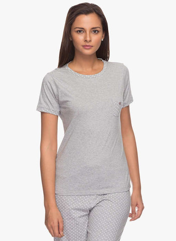 Cottonworld Women's Tshirts WOMENS 100% COTTON PRINTED GREY MELAN TSHIRT