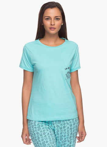 Cottonworld Women's Tshirts WOMENS 100% COTTON PRINTED MINT TSHIRT