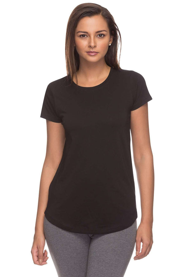 Women's Cotton Black Regular Fit Tshirt