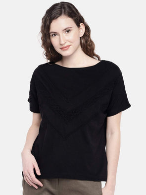 Cottonworld Women's Tshirts XSMALL / BLACK Women's 100% Cotton Knit Black Regular Fit Tshirt