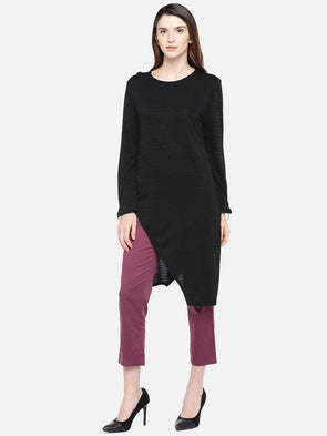 Women's Viscose Lurex Black Regular Fit Tshirt Cottonworld Women's Tshirts