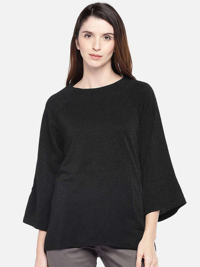 Women's Viscose Black Regular Fit Tshirt Cottonworld Women's Tshirts