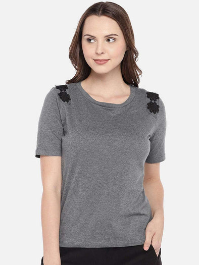 Cottonworld Women's Tshirts XSMALL / CHARCOAL Women's Cotton Charcoal Regular Fit Tshirt