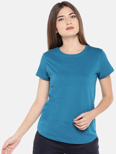 Cottonworld Women's Tshirts XSMALL / TEAL Women's Cotton Knit Teal Regular Fit Tshirt