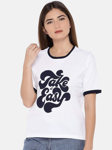 Cottonworld Women's Tshirts XSMALL / WHITE Women's Cotton Knit White Regular Fit Tshirt