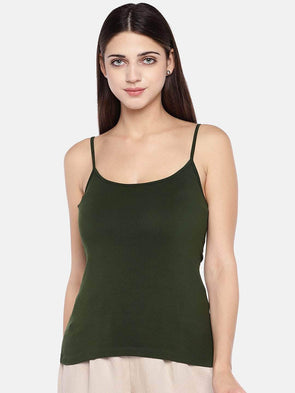 Women's Cotton Elastane Olive Slim Fit Kvest Cottonworld Women's Vests
