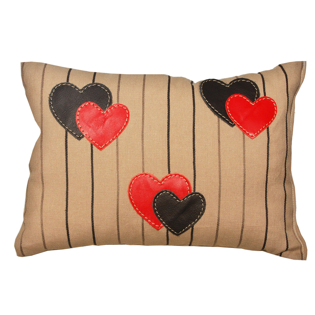 "06 Pillow | ""Hearts n' Stripes"""