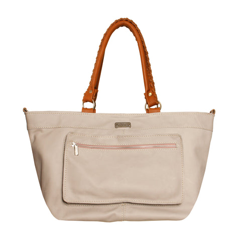 02 SHOULDERBAG BOLSOS | LIGHT GREY & CAMEL