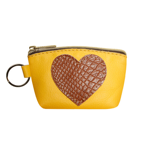 05 HEART PURSE | YELLOW AND HONEY CROCO