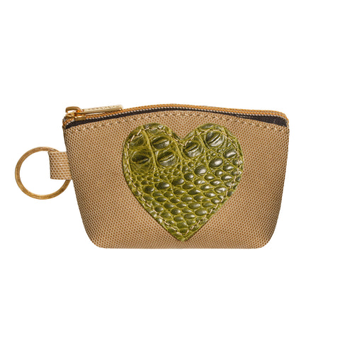05 HEART PURSE | BEIGE AND CROCO GREEN
