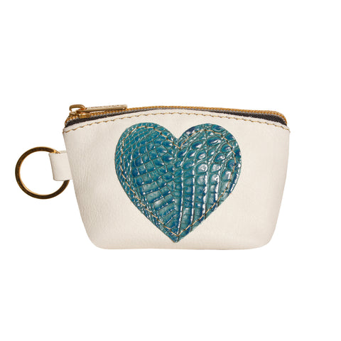 05 HEART PURSE | WHITE AND CROCO TURQUOISE