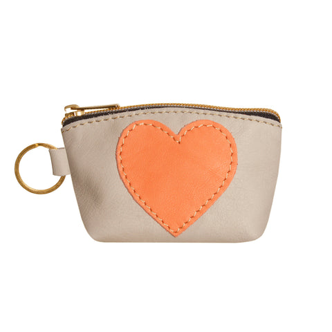 05 HEART PURSE | LIGHT GREY AND PINK CORAL
