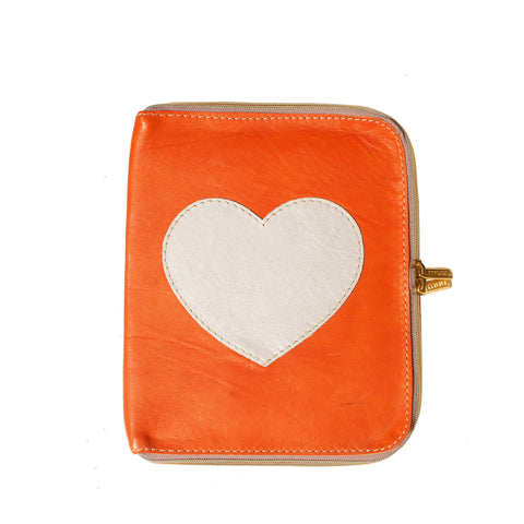 05 IPAD Case | Orange W/ Silver Heart