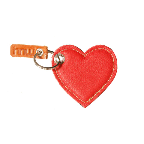 05 Keychain | Red & Croco Taupe Heart