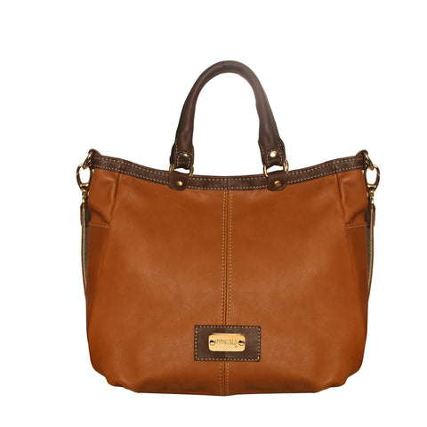 01 HANDBAG RITA | CAMEL & BROWN LEATHER