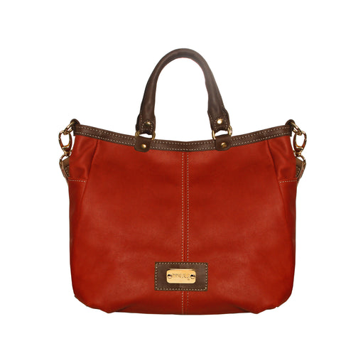 01 Handbag Rita | Red & Brown Leather