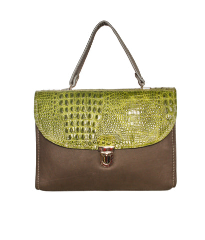 01 Handbag Fernanda | Croco Green & Grey