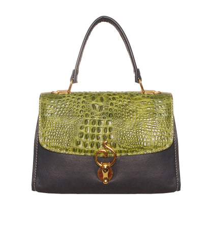 01 Handbag Jackie | Croco Green & Blue