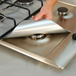 Non-Stick Gas Range Protectors - Set of 4 - Silver