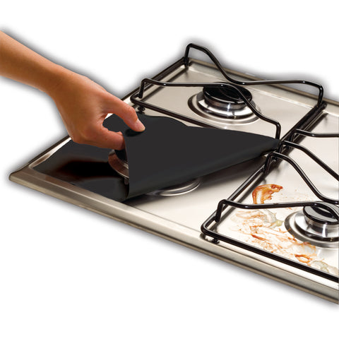 Non-Stick Gas Range Protectors - Set of 4 - Black