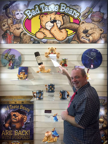 Pete Underhill with the Latest Bad Taste Bears Product Range