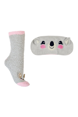 Fluffy Koala Sock & Eye Mask Set