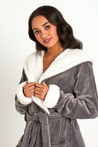 Fluffy Grey Dressing Gown