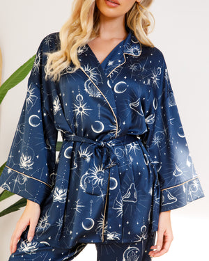 Chelsea Peers NYC Wellness Satin Celestial Moon and Sun Robe