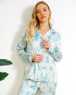 Chelsea Peers NYC Wellness Satin Soft Blue Tiger Long PJ Set