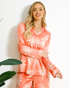 Chelsea Peers NYC Wellness Satin Coral Palm Tree Long PJ Set