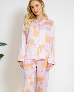 Chelsea Peers NYC Wellness Satin Lilac Leopard Long PJ Set