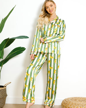 Chelsea Peers NYC Wellness Eco Satin Leopard Stripe Long PJ Set