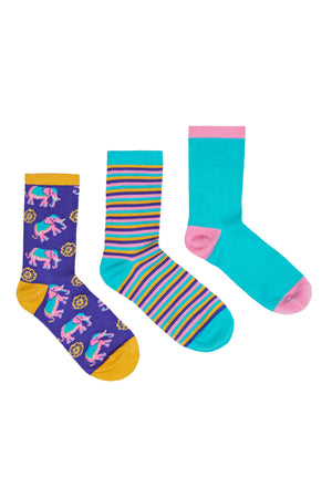 Chelsea Peers NYC Three Pack Elephant Stripe Socks Set