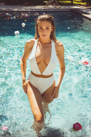 Chelsea Peers NYC White Eco Swimsuit With Gold Detail