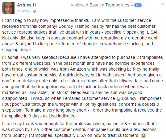 Customer Review Ashley Facebook