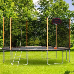 B2B 14FT outdoor garden powder-coated trampoline with basketball hoop ladder and enclosure - W550S00001 - Round Trampolines