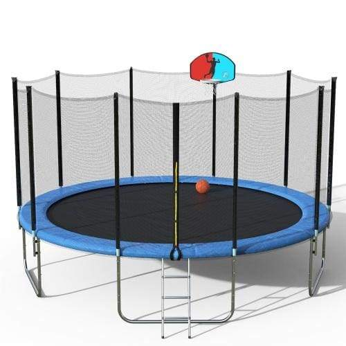 B2B 15 FT Round Trampoline with Safety Enclosure Basketball Hoop and Ladder - SM000020CAA - Round Trampolines