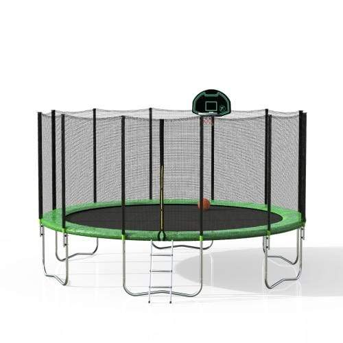 B2B 16FT Round Trampoline with Safety Enclosure Net & Ladder Spring Cover Padding Basketball Hoop Outdoor Activity - SM000040FAA - Round