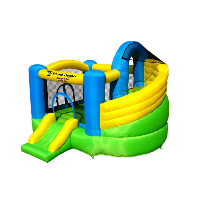 Island Hopper Jump-A-Lot Bounce House Curved Slide - Jalds11118 - Bounce Houses