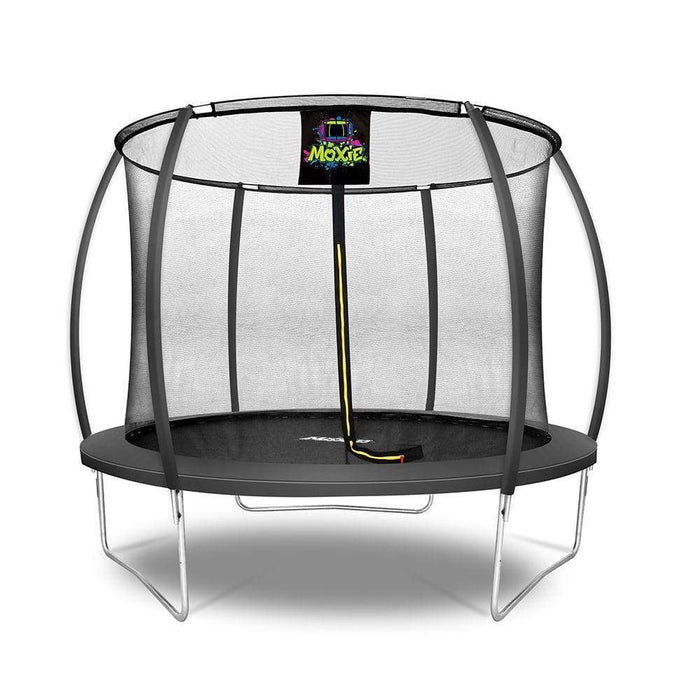 Moxie™ Pumpkin-Shaped Outdoor Trampoline Set with Premium Top-Ring Frame Safety Enclosure 10 FT - Black - Round Trampolines