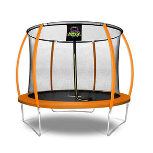 Moxie™ Pumpkin-Shaped Outdoor Trampoline Set with Premium Top-Ring Frame Safety Enclosure 10 FT - Orange - Round Trampolines