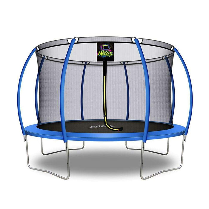 Moxie™ Pumpkin-Shaped Outdoor Trampoline Set with Premium Top-Ring Frame Safety Enclosure 12 FT - Blue - Round Trampolines