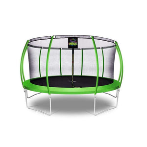 Moxie™ Pumpkin-Shaped Outdoor Trampoline Set with Premium Top-Ring Frame Safety Enclosure 15 FT - Green Apple - Round Trampolines