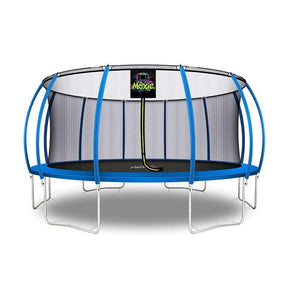 Moxie™ Pumpkin-Shaped Outdoor Trampoline Set with Premium Top-Ring Frame Safety Enclosure 16 FT - Blue - Round Trampolines