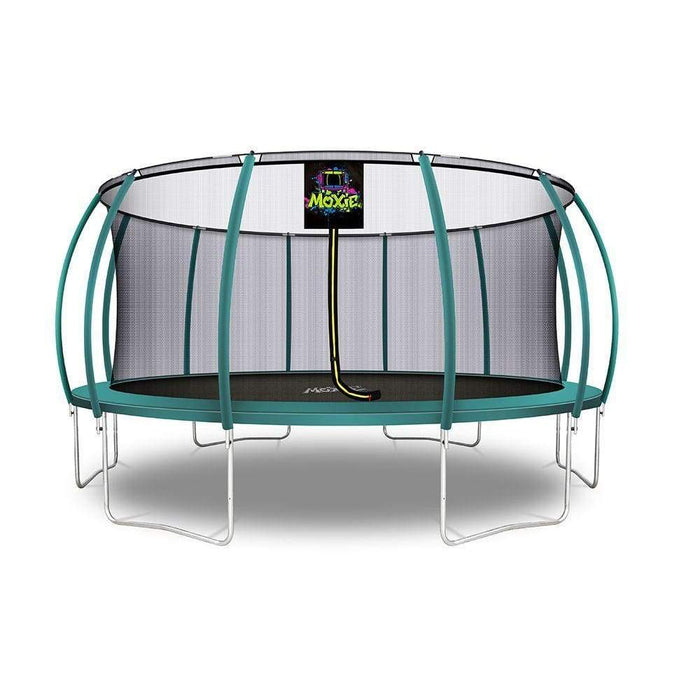 Moxie™ Pumpkin-Shaped Outdoor Trampoline Set with Premium Top-Ring Frame Safety Enclosure 16 FT - Dark Green - Round Trampolines