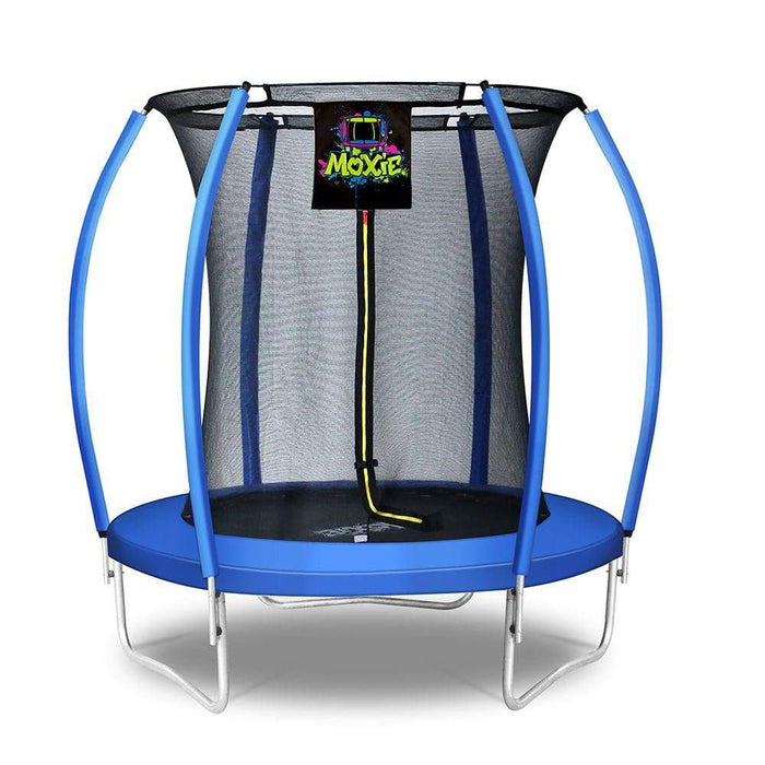 Moxie™ Pumpkin-Shaped Outdoor Trampoline Set with Premium Top-Ring Frame Safety Enclosure 6 FT - Blue - Round Trampolines