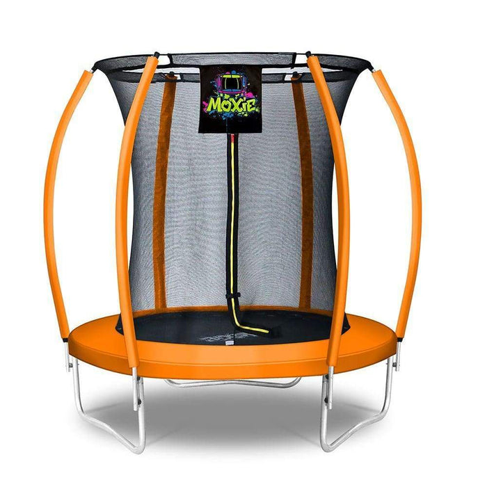 Moxie™ Pumpkin-Shaped Outdoor Trampoline Set with Premium Top-Ring Frame Safety Enclosure 6 FT - Orange - Round Trampolines
