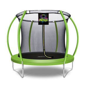 Moxie™ Pumpkin-Shaped Outdoor Trampoline Set with Premium Top-Ring Frame Safety Enclosure 8 FT - Green Apple - MXSF03-8-GA - Round