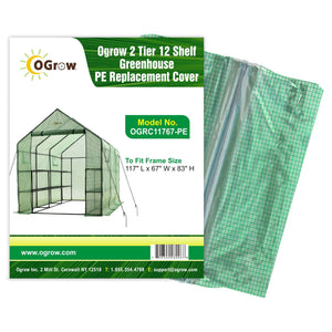 oGrow 2 Tier 12 Shelf Greenhouse Pe Replacement Cover - To Fit Frame Size 117 L X 67 W X 83 H - Greenhouses & Accessories